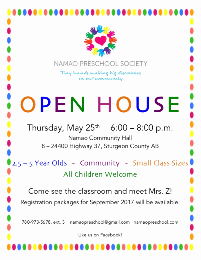 Preschool Open House Invitation Beautiful Open House – Thursday May 25th 6 00 – 8 00 P M – Namao