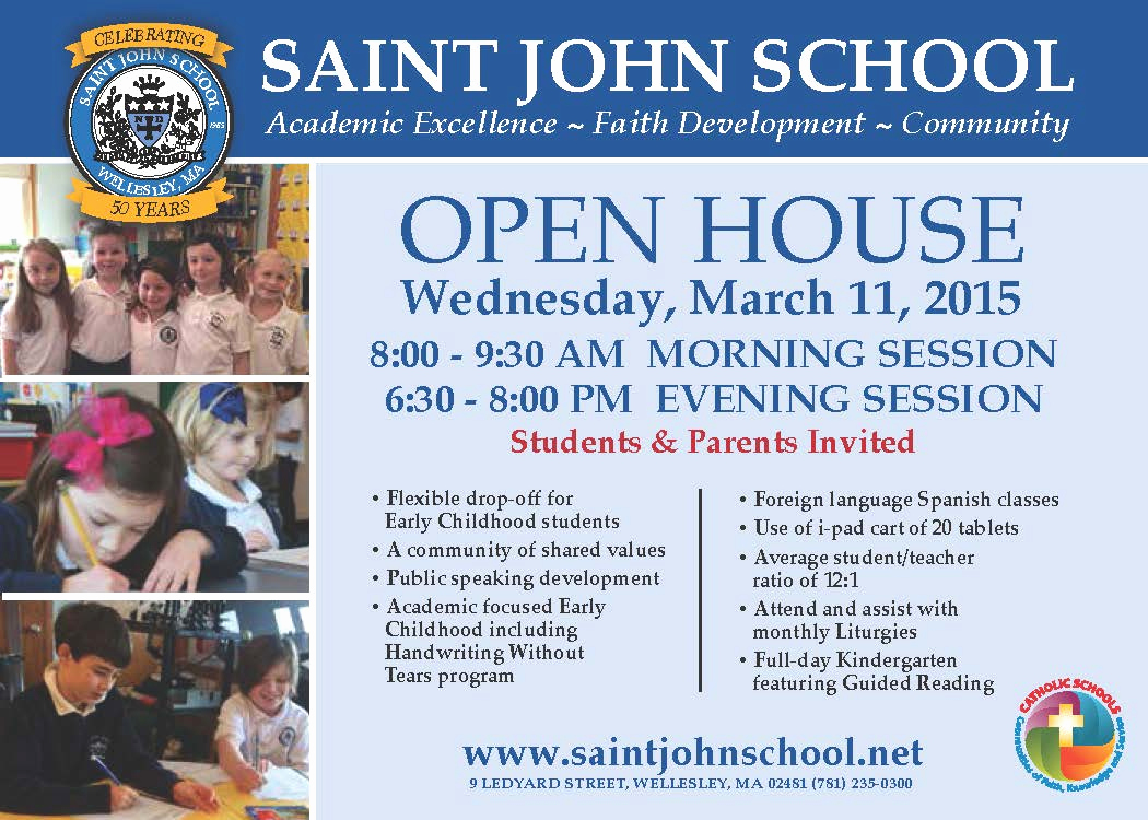Preschool Open House Invitation New Saint John School Open House – Wednesday March 11