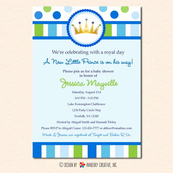 Prince Baby Shower Invitation Templates Beautiful Little Prince Baby Shower Invitation Digital Printable File