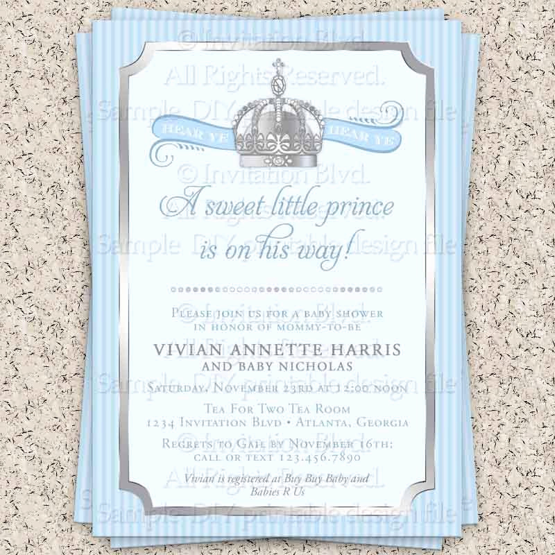 Prince Baby Shower Invitation Templates Best Of Prince Baby Shower Invitations Party Xyz