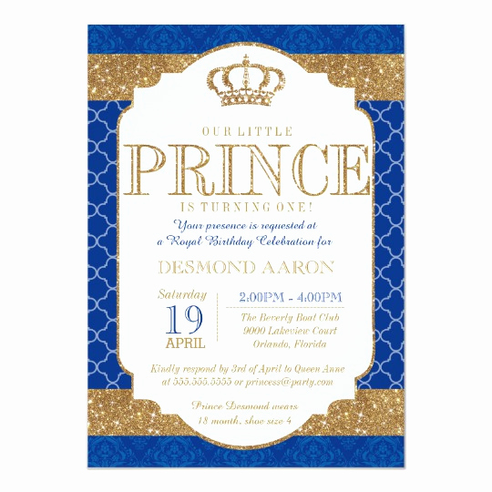 Prince Baby Shower Invitation Templates Elegant Little Prince Royal Blue Gold Birthday or Shower Card