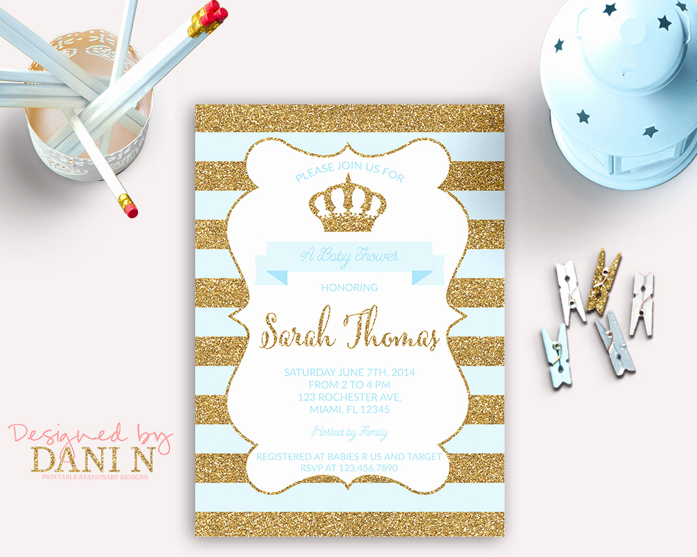 Prince Baby Shower Invitation Templates Fresh Baby Shower Invitation Prince Baby Shower Blue and Gold