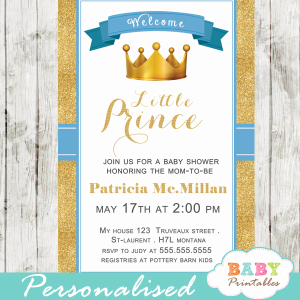 Prince Baby Shower Invitation Templates Luxury Blue and Gold Royal Prince Baby Shower Invitation – D270