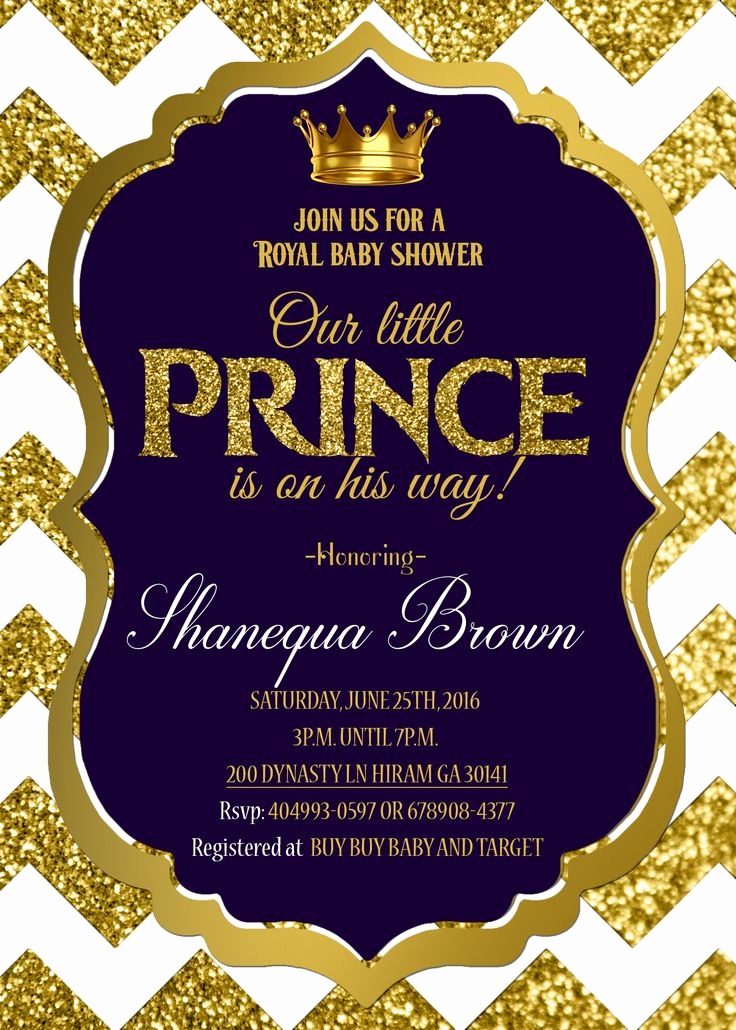 Prince Baby Shower Invitation Templates Luxury Royal Baby Shower Invitation Royal Prince Gold