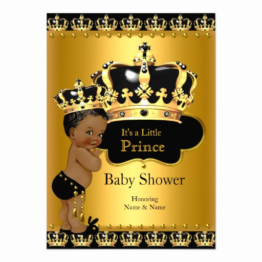 Prince Baby Shower Invitation Templates Luxury Royal Prince Baby Shower Black Gold Ethnic 5x7 Paper