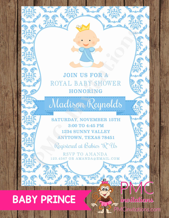 Prince Baby Shower Invitation Templates Unique Royal Prince Baby Shower Invitations