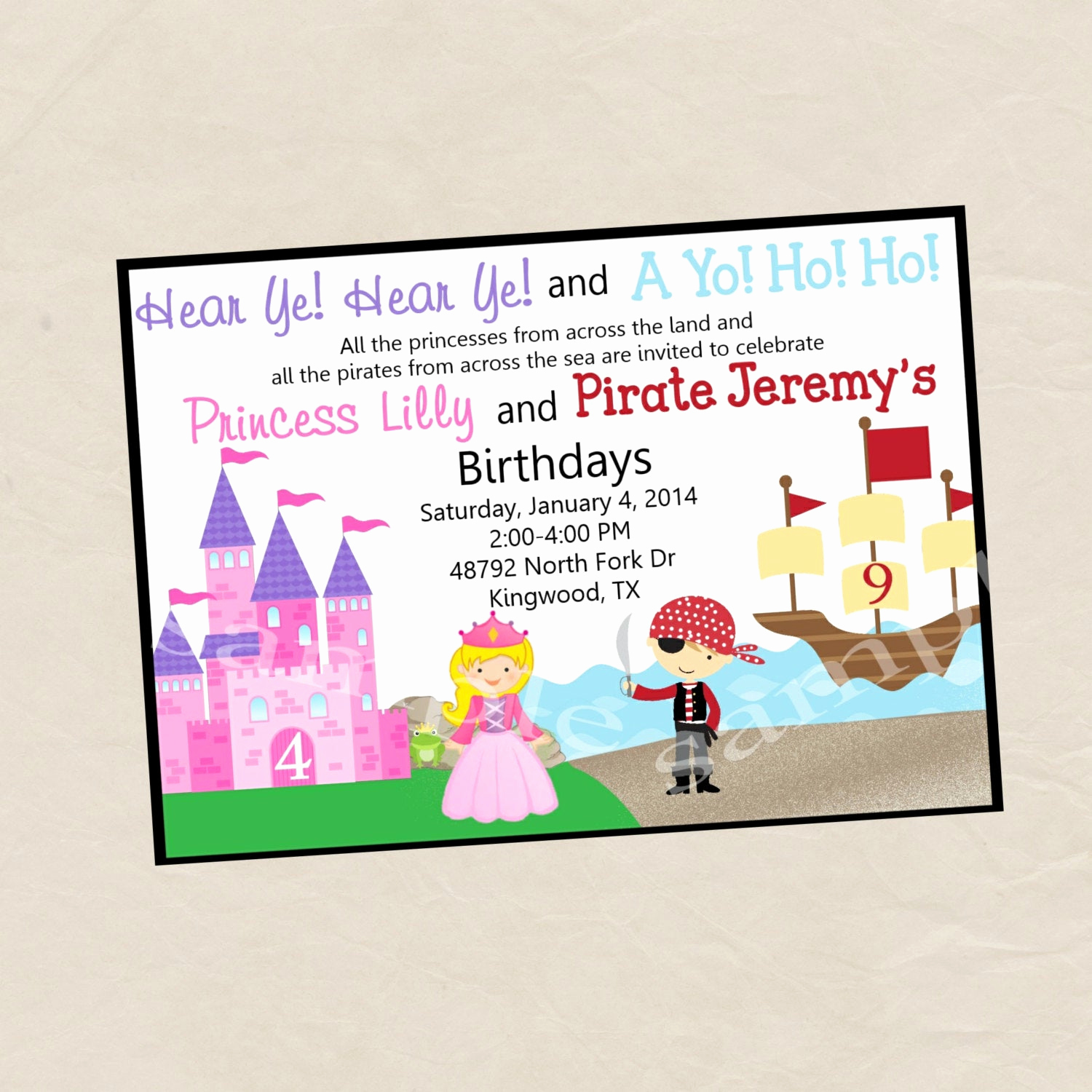 Princess and Pirate Invitation Awesome Princess and Pirate Birthday Party Invitation Digital or