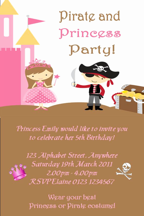 Princess and Pirate Invitation Beautiful Personalised Princess and Pirate theme Invitations