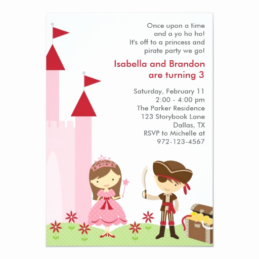 Princess and Pirate Invitation Beautiful Princess and Pirate Invitation