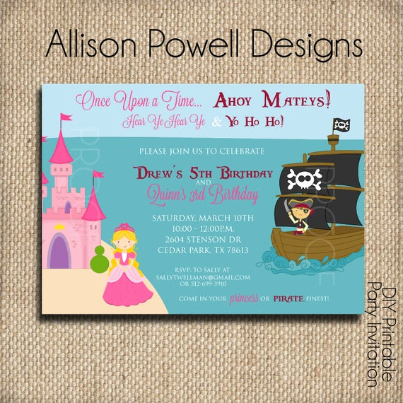 Princess and Pirate Invitation Beautiful Princess and Pirate Joint Birthday Party Invitation Custom