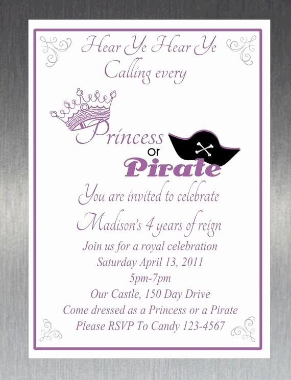 Princess and Pirate Invitation Best Of Items Similar to Printable Diy Princess and Pirate Party