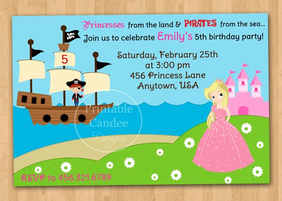 Princess and Pirate Invitation Elegant Pirate and Princess Party Invitations Template Free