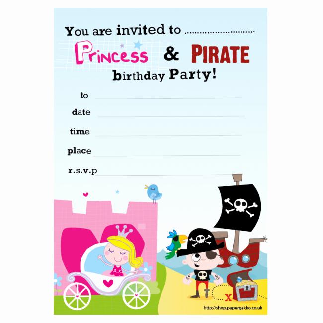 Princess and Pirate Invitation Fresh Paper Gekko