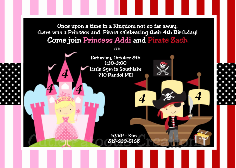 Princess and Pirate Invitation Fresh Princess and Pirate Birthday Invitation Princess by