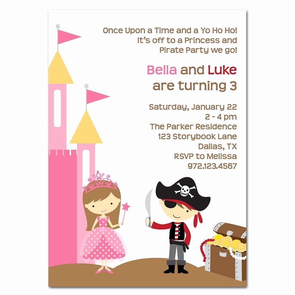 Princess and Pirate Invitation Inspirational Princess and Pirate Printable Party Invitation by Cocoamint
