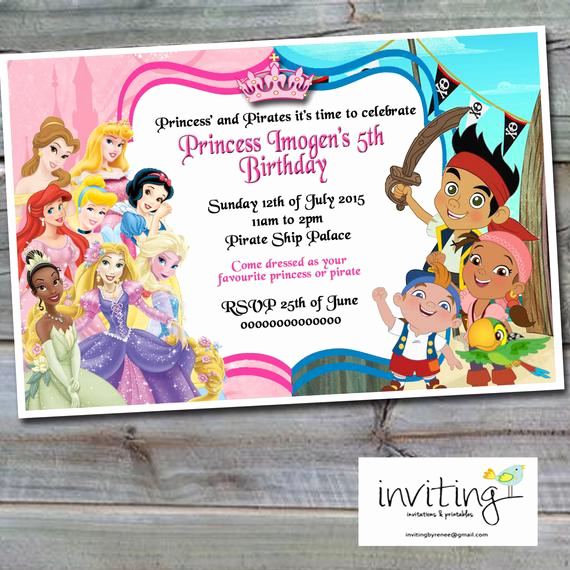 Princess and Pirate Invitation Inspirational Princess and Pirates Invitation Girl Design Disney