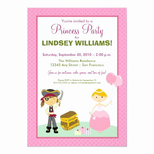 Princess and Pirate Invitation Lovely Charming Princess & Pirate Party Invitation