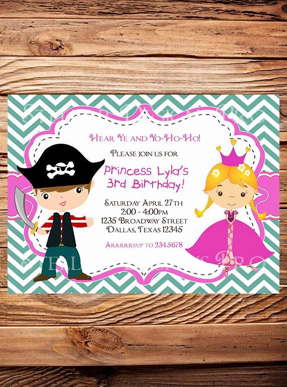 Princess and Pirate Invitation Lovely Princess and Pirate Birthday Invitation Boy Girl Princess