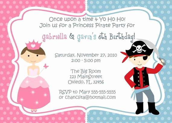Princess and Pirate Invitation Lovely Princess and Pirate Birthday Party Invitation You Print