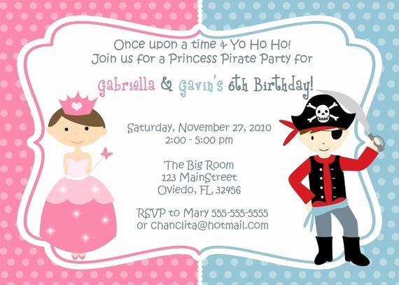 Princess and Pirate Invitation Lovely Princess and Pirate Birthday Party Invitation You Print