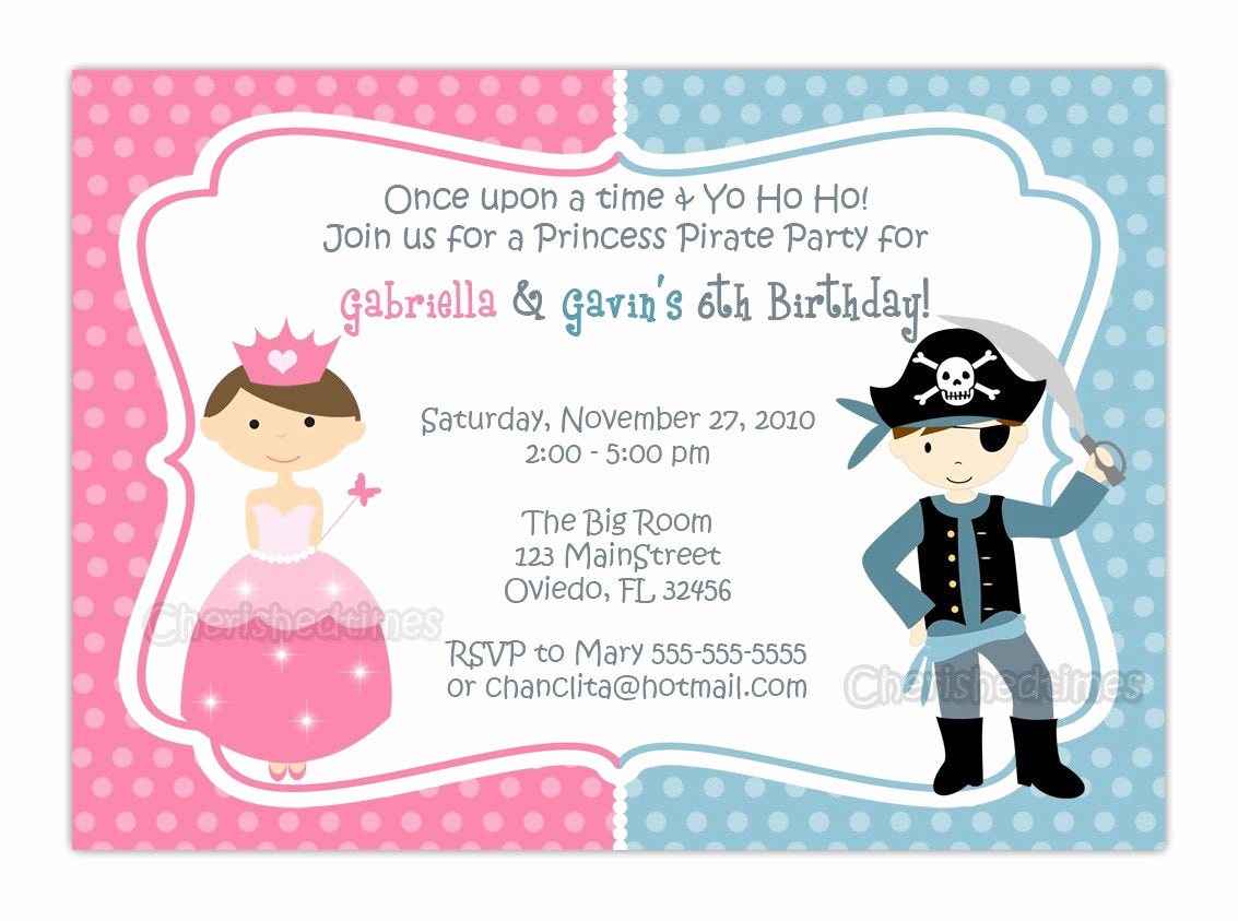 Princess and Pirate Invitation Lovely Princess and Pirate or Knight Zebra or Dots Background