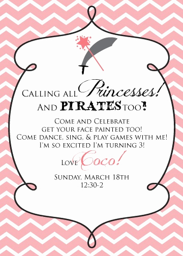 Princess and Pirate Invitation Luxury E Fabulous Mom Princess and Pirate Party