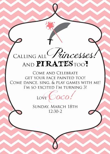 Princess and Pirate Invitation Luxury E Fabulous Mom Princess and Pirate Party