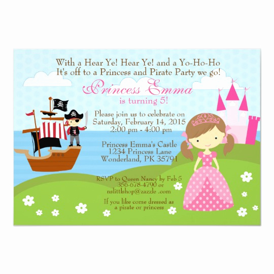 Princess and Pirate Invitation Luxury Princess and Pirate Birthday Invitation