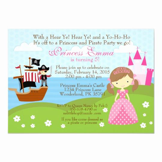 Princess and Pirate Invitation Luxury Princess and Pirate Birthday Invitation