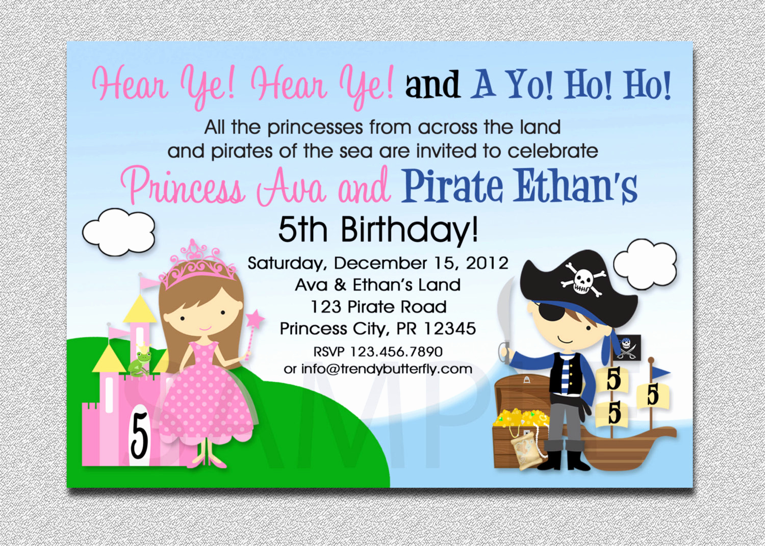 Princess and Pirate Invitation Luxury Princess Pirate Birthday Invitation Princess and Pirate Party