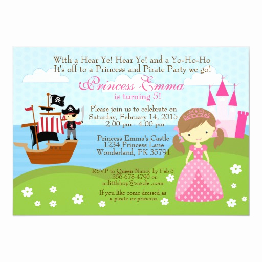 Princess and Pirate Invitation Unique Princess and Pirate Birthday Invitation