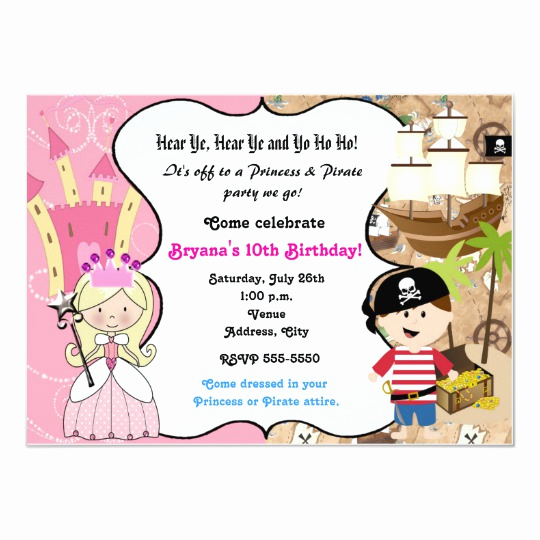 Princess and Pirate Invitation Unique Princess and Pirate Birthday Party Invitation