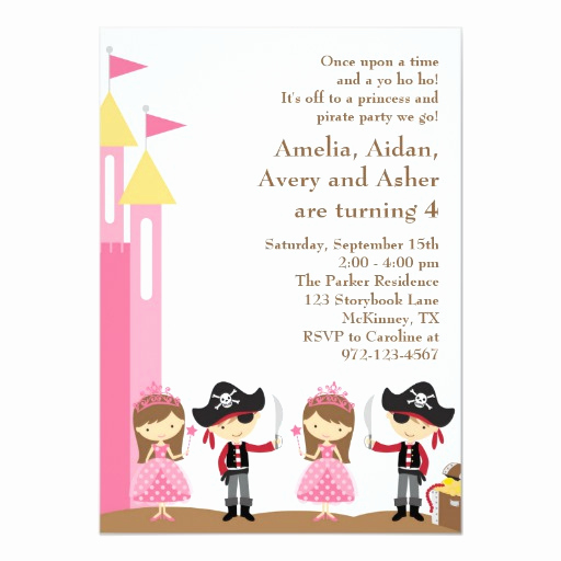 Princess and Pirate Invitation Unique Princess and Pirate Invitation