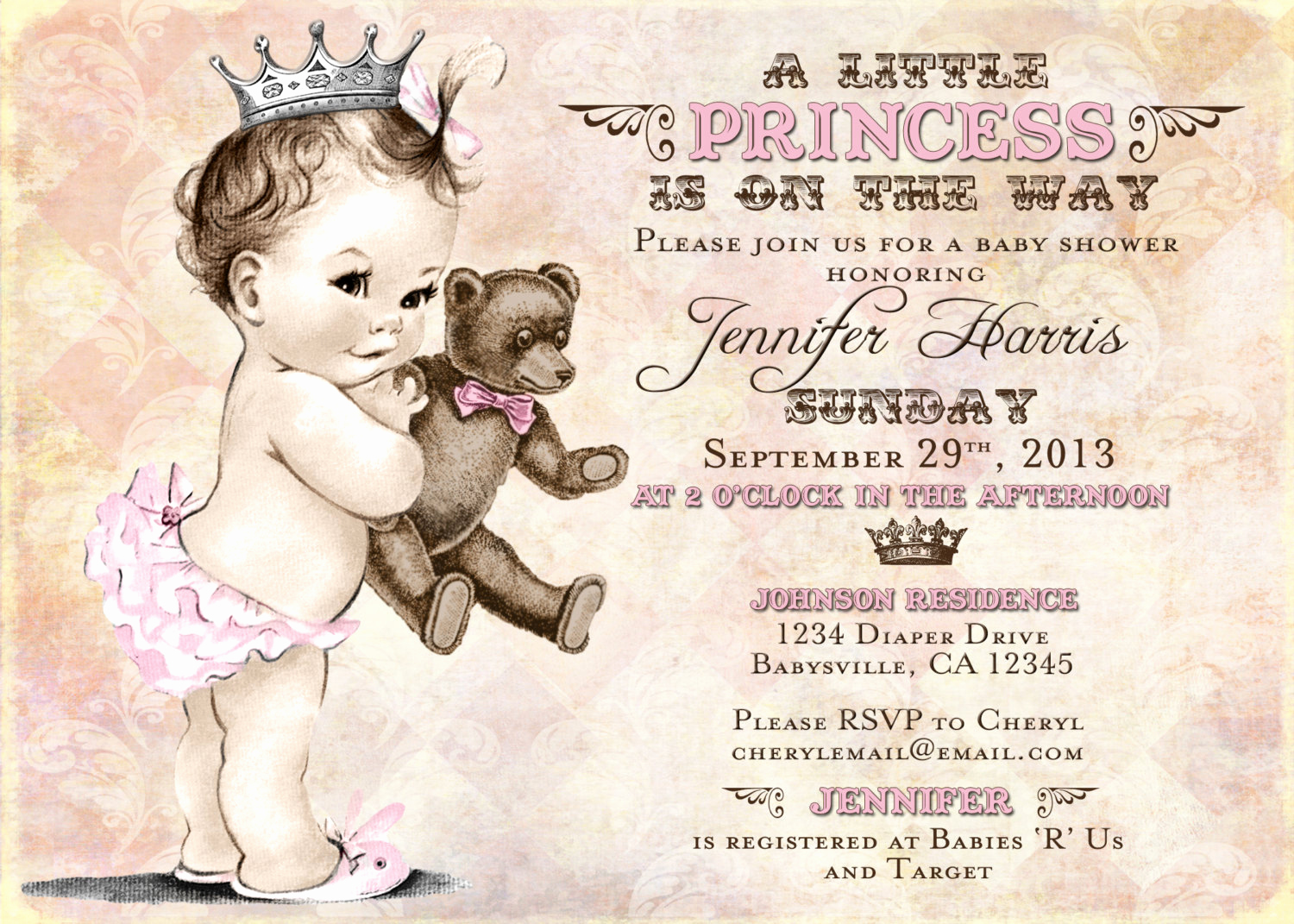 Princess Baby Shower Invitation Awesome Teddy Bear Baby Shower Invitation for Girl Princess Crown