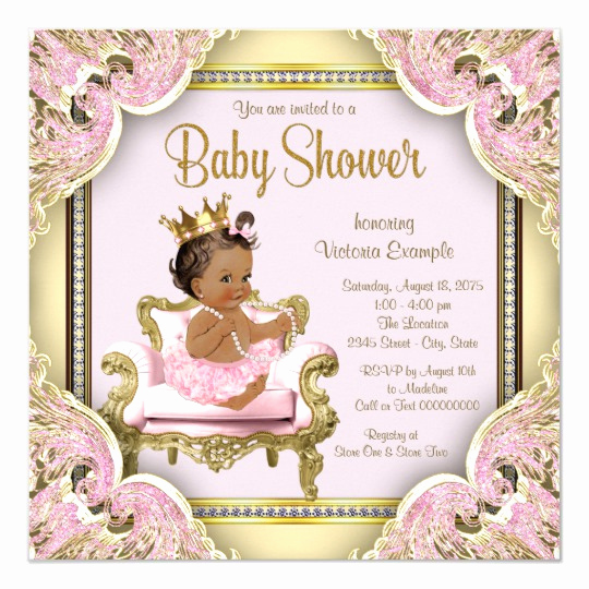 Princess Baby Shower Invitation Beautiful African American Princess Baby Shower Invitation