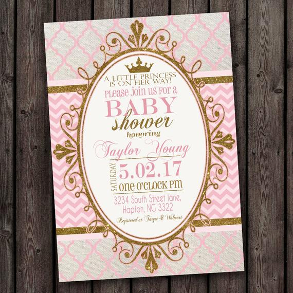 Princess Baby Shower Invitation Beautiful Pink Gold Princess Baby Shower Invitation Pink and Gold Baby