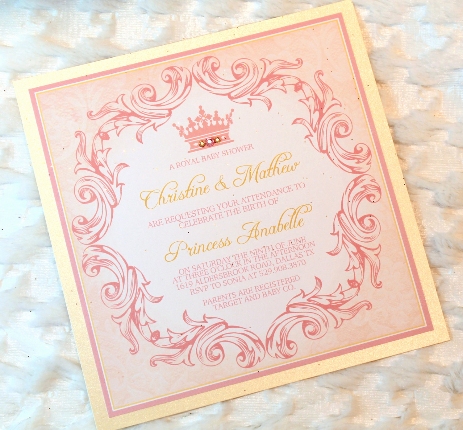 Princess Baby Shower Invitation Best Of 12 Princess Baby Girl Shower Invitations Royal Pink by