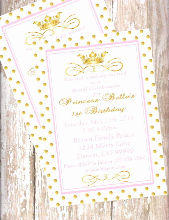 Princess Baby Shower Invitation Elegant Printable Pdf Princess Invitations Pink and Gold Baby