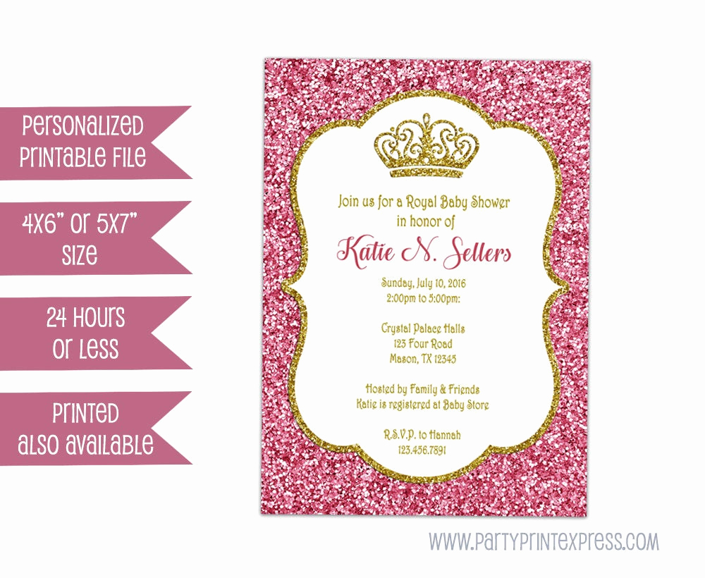Princess Baby Shower Invitation Elegant Printable Princess Baby Shower Invitation Girl Baby Shower