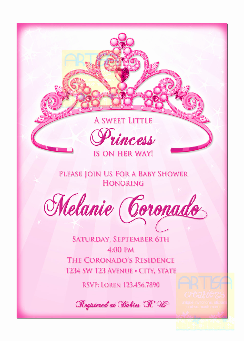 Princess Baby Shower Invitation Fresh Princess Baby Shower Invitation Diy Princess Crown Baby