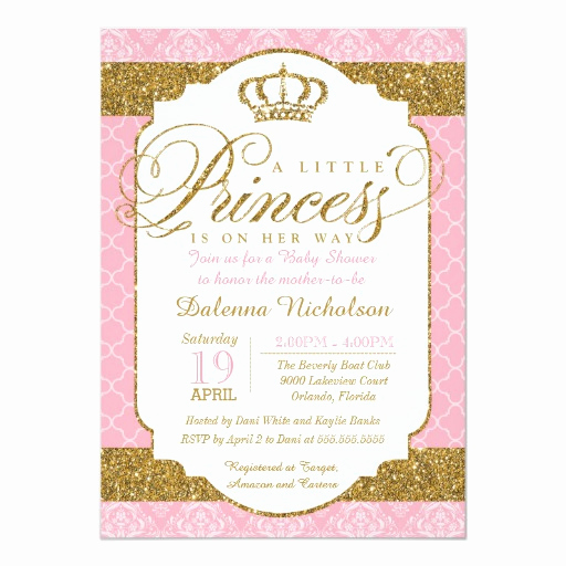 Princess Baby Shower Invitation New Little Princess Royal Pink and Gold Baby Shower 5x7 Paper