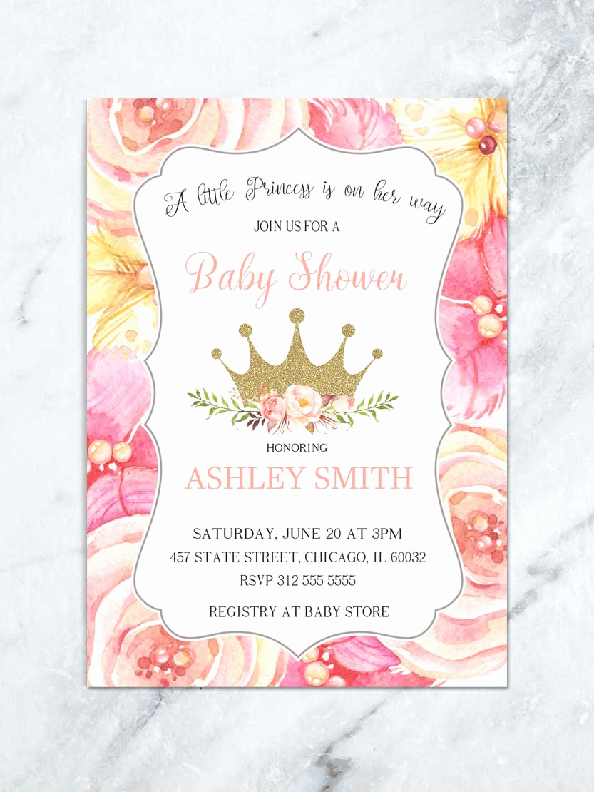 Princess Baby Shower Invitation Unique Princess Shower Invitations