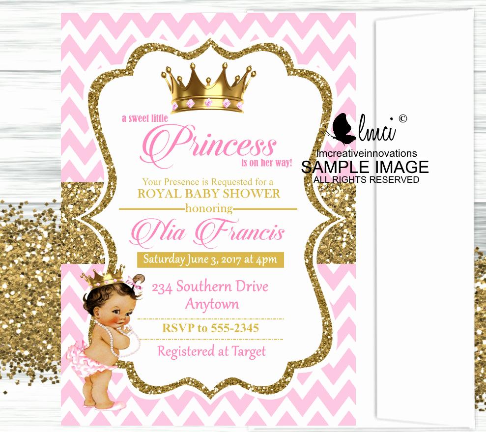 Princess Baby Shower Invitation Wording Awesome Royal Princess Baby Shower Invitation Little Princess