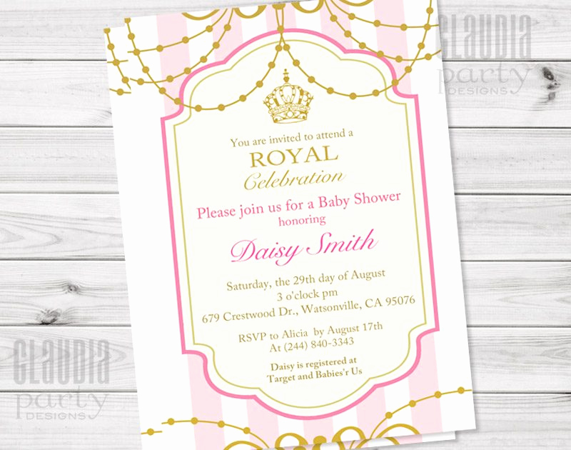 Princess Baby Shower Invitation Wording Beautiful Royal Princess Invitation Pink and Gold Vintage Invite