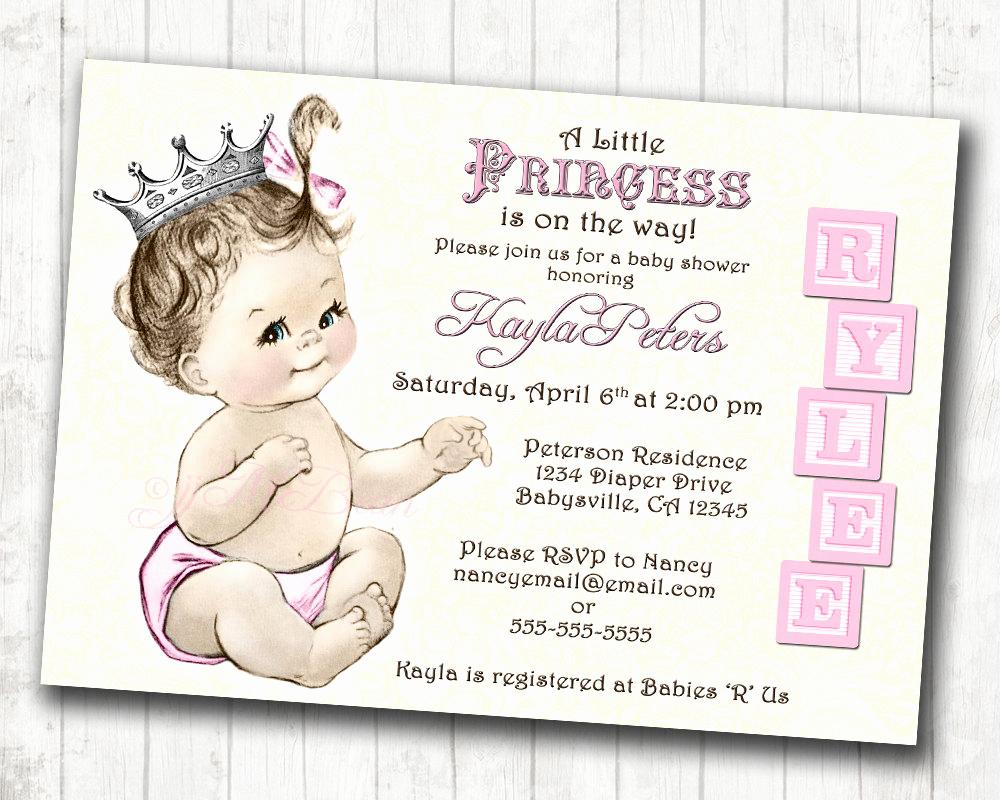 Princess Baby Shower Invitation Wording Best Of Princess Baby Shower Invitation for Girl Vintage Princess