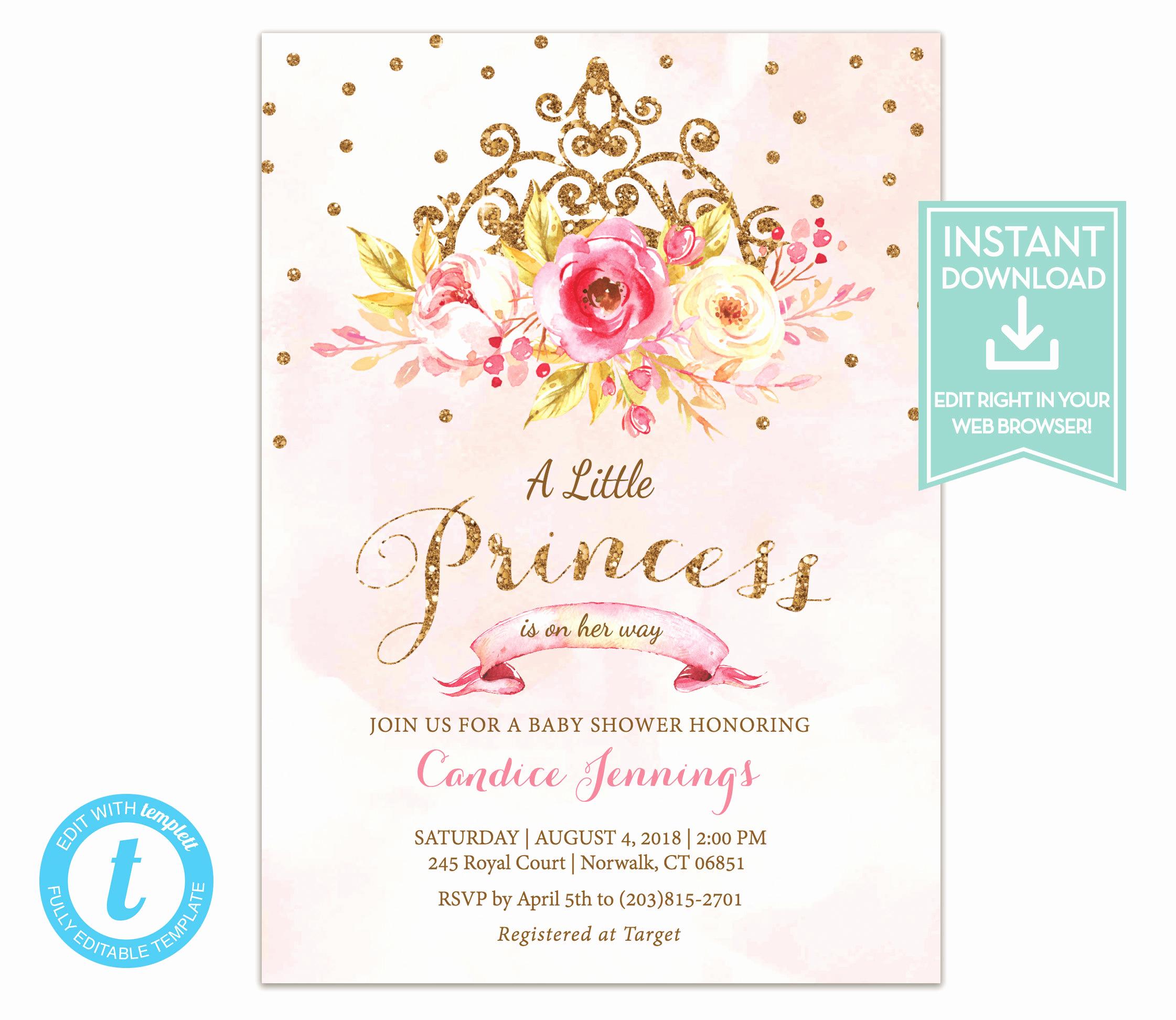 Princess Baby Shower Invitation Wording Fresh Little Princess Baby Shower Invitation Instant Download