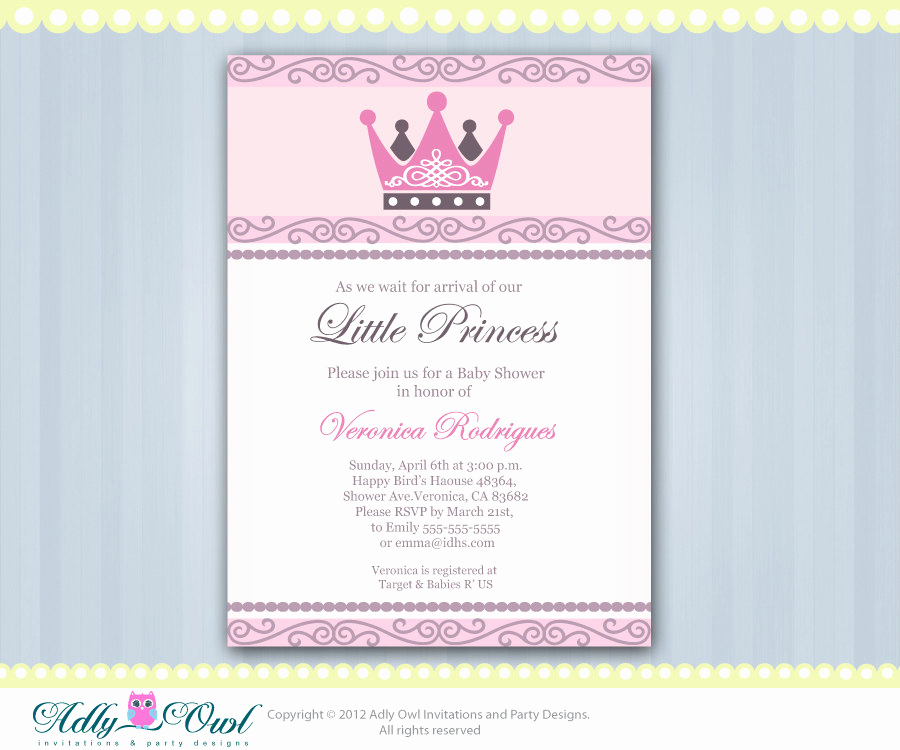 Princess Baby Shower Invitation Wording Fresh Princess Baby Shower Invitations Wording Party Xyz