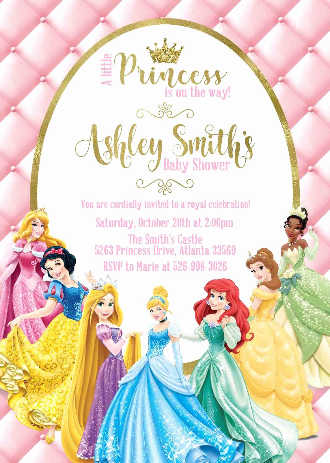 Princess Baby Shower Invitation Wording Inspirational Princess Baby Shower Invitation Disney Princess