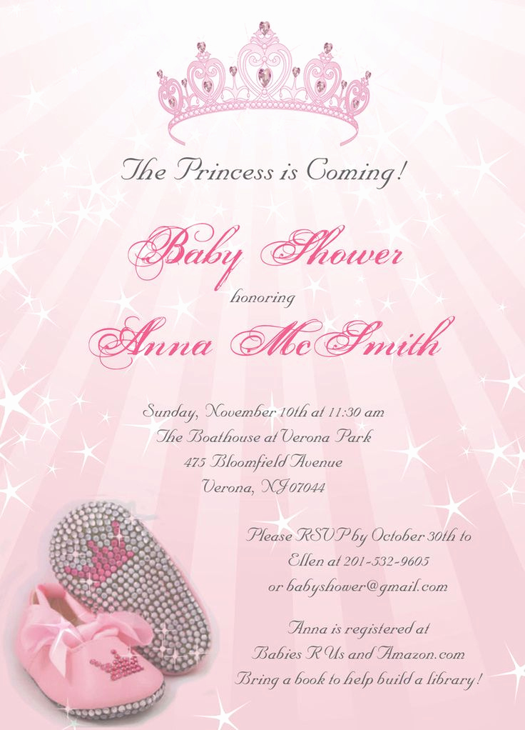 Princess Baby Shower Invitation Wording Lovely Princess Baby Shower Invitation On Luulla