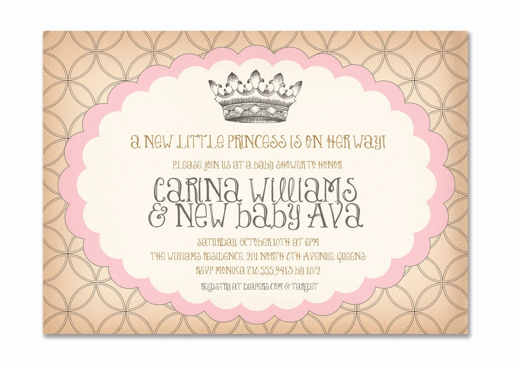 Princess Baby Shower Invitation Wording Lovely Vintage Princess Baby Shower Invitation Birthday Surprise